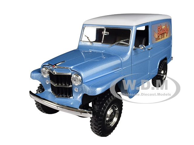 1955 Willys Jeep Station Wagon Silver Blue White Top Lucky 1/18 Diecast Model Car Road Signature 92858