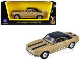 1967 Chevrolet Camaro Z-28 Gold Black Stripes Black Top 1/43 Diecast Model Car Road Signature 94216