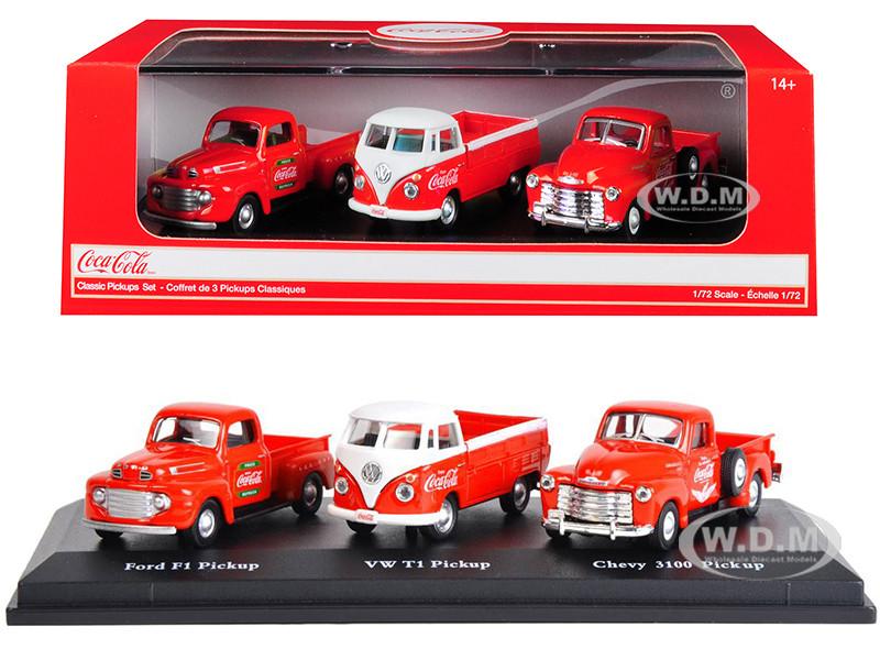 Classic Pickups Gift Set 3 Pickup Trucks Coca Cola 1/72 Diecast Model Cars Motorcity Classics 472100
