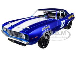 1969 Chevrolet Camaro Z/28 #6 Satin Royal Blue Bright White Stripes Auto-Mods Limited Edition 5880 pieces Worldwide 1/24 Diecast Model Car M2 Machines 40300-70 A