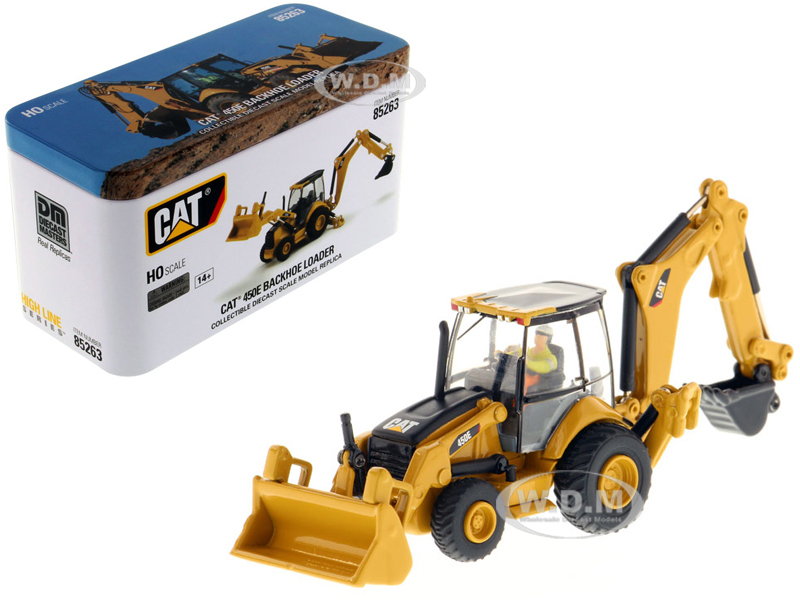 CAT Caterpillar 450E Backhoe Loader Operator High Line Series 1/87 HO Scale Diecast Model Diecast Masters 85263