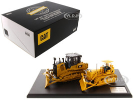CAT Caterpillar D7C Track Type Tractor Circa 1955 1959 CAT Caterpillar D7E Electric Drive Track Type Tractor Current Operators Evolution Series Set 2 pieces 1/50 Diecast Models Diecast Masters 85561