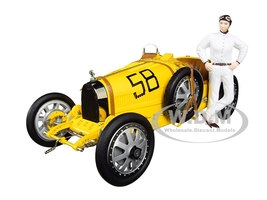 Bugatti T35 #58 Grand Prix Yellow Livery Female Racer Figurine Limited Edition 600 pieces Worldwide 1/18 Diecast Model Car CMC 100B017