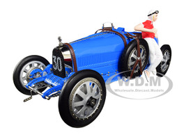 Bugatti T35 #30 Grand Prix Bright Blue Livery Female Racer Figurine Limited Edition 600 pieces Worldwide 1/18 Diecast Model Car CMC 100B018