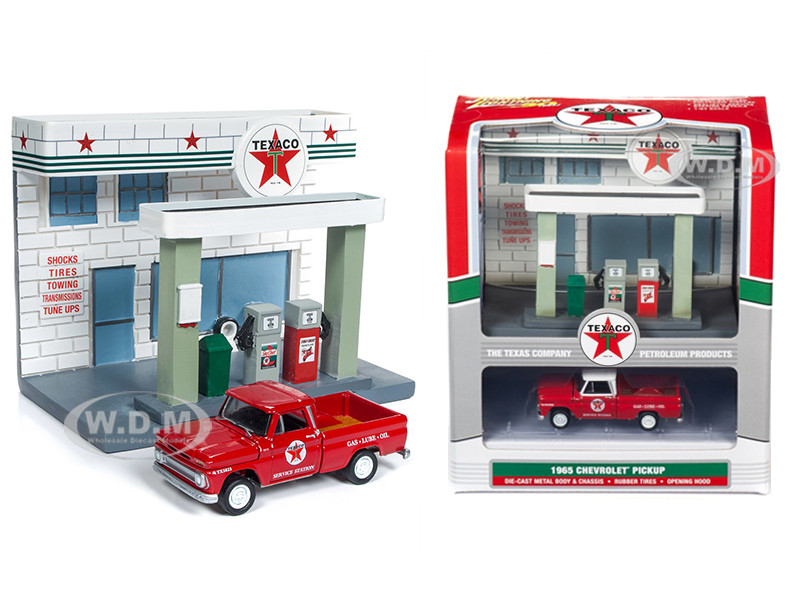1965 Chevrolet Pickup Truck Resin Texaco Service Station Diorama Set 1/64 Diecast Model Johnny Lightning JLSD001