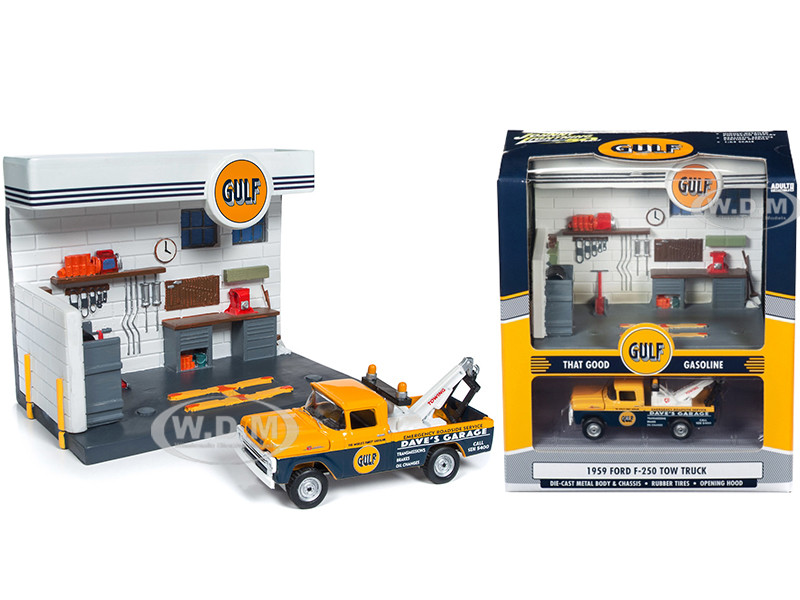 1959 Ford F-250 Tow Truck Gulf Service Station Diorama Set 1/64 Diecast Model Johnny Lightning JLSD002