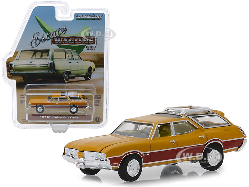 1970 Oldsmobile Vista Cruiser With Wood Grain Paneling And Roof Rack Nugget Gold Estate Wagons Series 3 164 Diecast Model Car By Greenlight