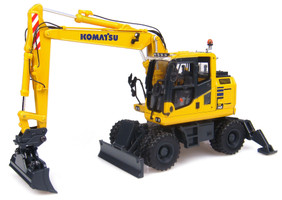 Komatsu PW148-10 Wheeled Excavator Standard and Ditch Cleaning Buckets 1/50 Diecast Model Universal Hobbies UH8083