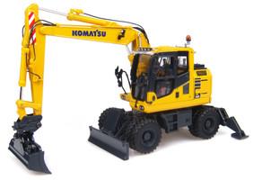 Komatsu PW148-10 Wheeled Excavator Standard and Ditch Cleaning Buckets 1/50 Diecast Model Universal Hobbies UH8083