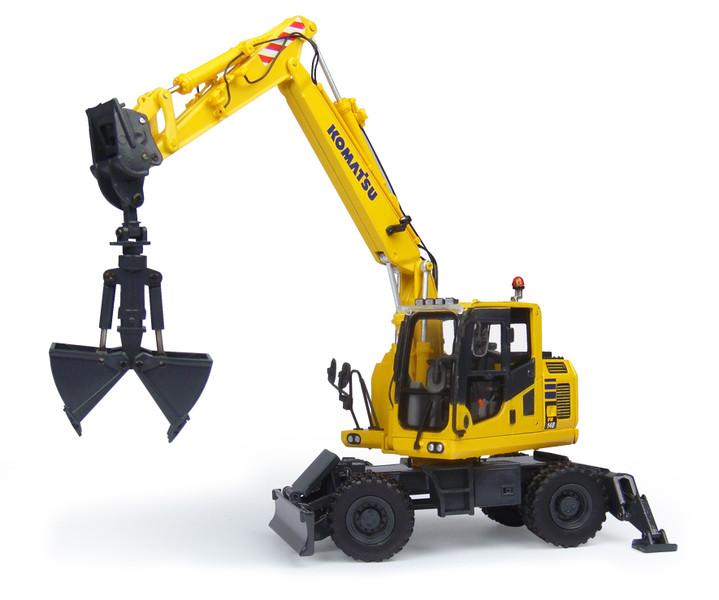 Komatsu PW148-10 Wheeled Excavator Clamshell Bucket 1/50 Diecast Model Universal Hobbies UH8100