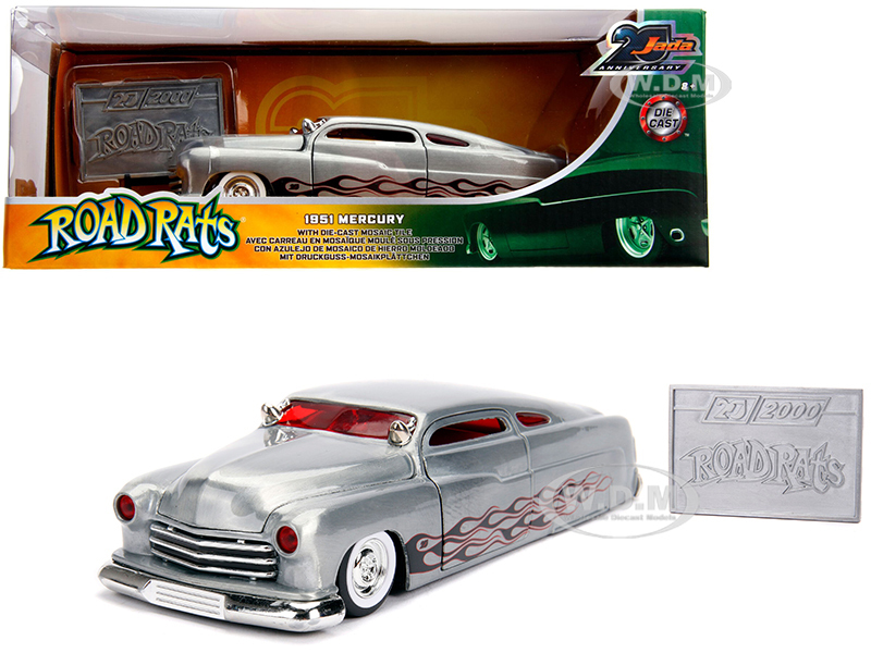 1951 Mercury Raw Metal Flames Road Rats Jada 20th Anniversary 1/24 Diecast Model Car Jada 31080