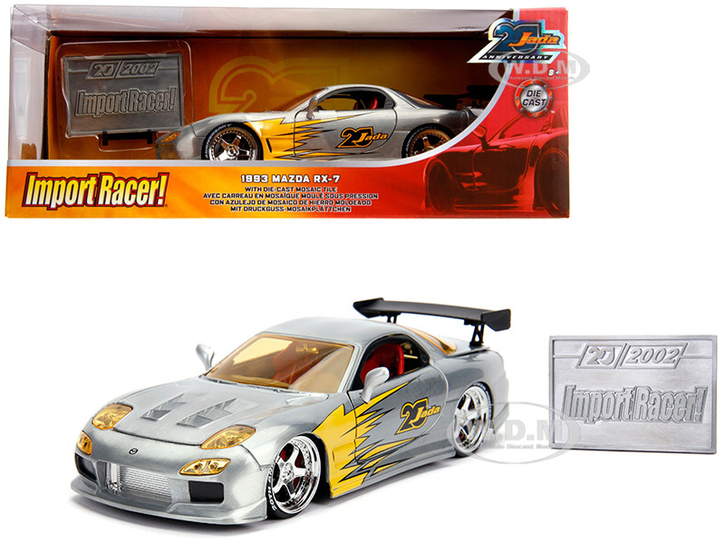 1993 Mazda RX-7 Raw Metal Import Racer Jada 20th Anniversary 1/24 Diecast Model Car Jada 31088