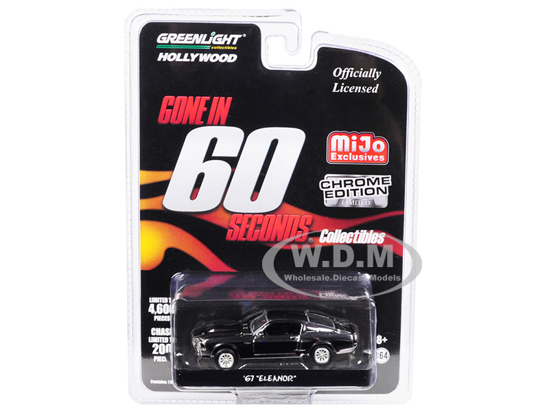 1967 Ford Mustang Custom Movie Star Eleanor Chrome Black Stripes Edition Gone in 60 Seconds 2000 Movie Limited Edition 4600 pieces Worldwide 1/64 Diecast Model Car Greenlight 51227