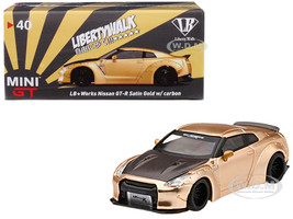Nissan GT-R R35 Type 1 LB Works LibertyWalk Satin Gold Carbon Hood Rear Wing Shizuoka Hobby Show 2019 Exclusive 1/64 Diecast Model Car True Scale Miniatures MGT00040
