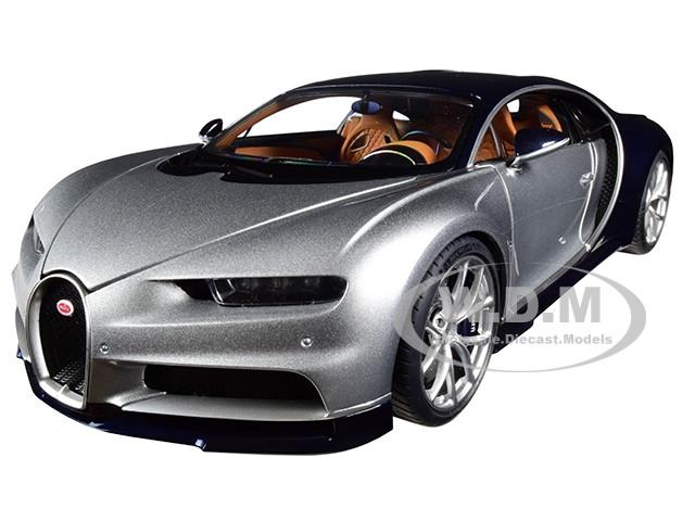 Bugatti Chiron Argent Silver Atlantic Blue 1/18 Model Car Autoart 70992