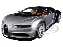 Bugatti Chiron Argent Silver Atlantic Blue 1/18 Model Car Autoart 70992