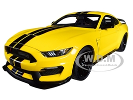 Ford Mustang Shelby GT-350R Triple Yellow Black Stripes 1/18 Model Car Autoart 72932