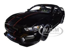 Ford Mustang Shelby GT-350R Shadow Black Black Stripes 1/18 Model Car Autoart 72934