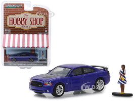 2013 Dodge Charger Super Bee Metallic Purple Black Stripes Woman in Dress Figure The Hobby Shop Series 6 1/64 Diecast Model Car Greenlight 97060 F