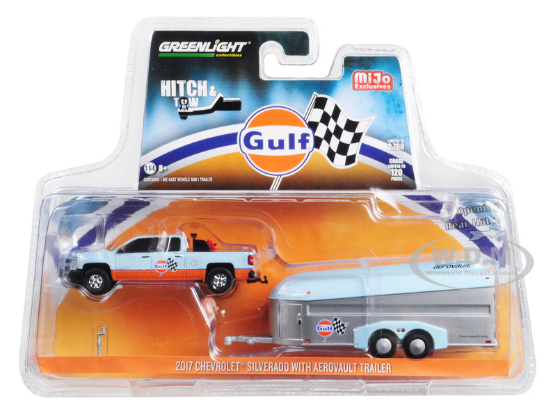 2017 Chevrolet Silverado Pickup Truck Aerovault Trailer Gulf Oil Hitch & Tow Series Limited Edition 2760 pieces Worldwide 1/64 Diecast Model Car Greenlight 51243