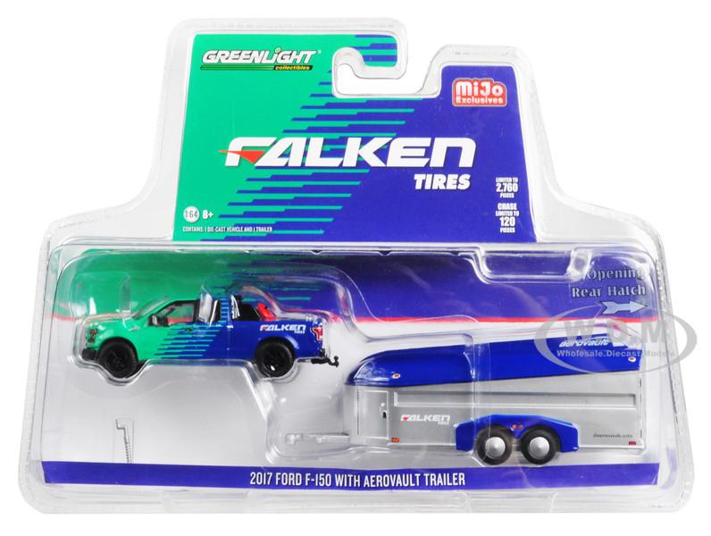 2017 Ford F-150 Pickup Truck Aerovault Trailer Falken Tires Limited Edition 2760 pieces Worldwide 1/64 Diecast Model Car Greenlight 51244