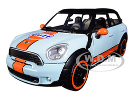 Mini Cooper S Countryman Gulf Livery Light Blue Orange Stripe Black Top 1/24 Diecast Model Car Motormax 79653
