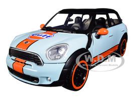 Mini Cooper S Countryman Gulf Livery Light Blue Orange Stripe Black Top 1/24 Diecast Model Car Motormax 79653