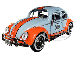 1966 Volkswagen Beetle #48 Gulf Livery Light Blue Orange Stripe 1/24 Diecast Model Car Motormax 79655