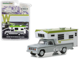 1966 Dodge D100 Gray Winnebago Slide-In Camper White Green Hobby Exclusive 1/64 Diecast Model Car Greenlight 30022