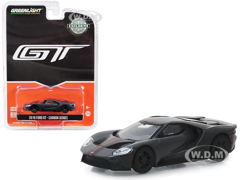 2019 Ford GT Dark Gray Carbon Orange Stripes Carbon Series Hobby Exclusive 1/64 Diecast Model Car Greenlight 30039