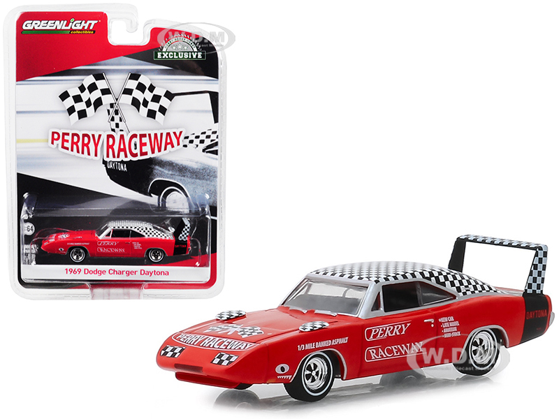 1969 Dodge Charger Daytona Orange Check Top Perry Raceway Pace Car Hobby Exclusive 1/64 Diecast Model Car Greenlight 30043