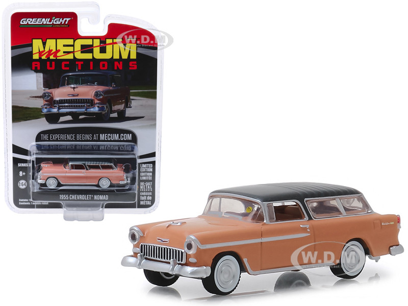 1955 Chevrolet Nomad Coral Shadow Gray Top Las Vegas 2018 Mecum Auctions Collector Cars Series 3 1/64 Diecast Model Car Greenlight 37170 A