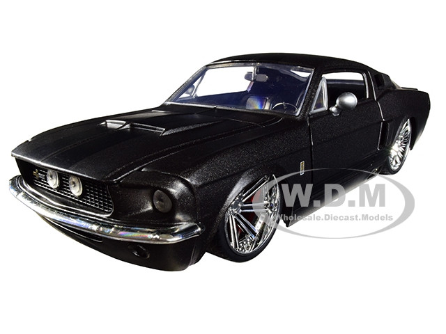 1967 Ford Mustang Shelby GT500 Matt Dark Gray Black Stripes 1/24 Diecast Model Car Jada 97411