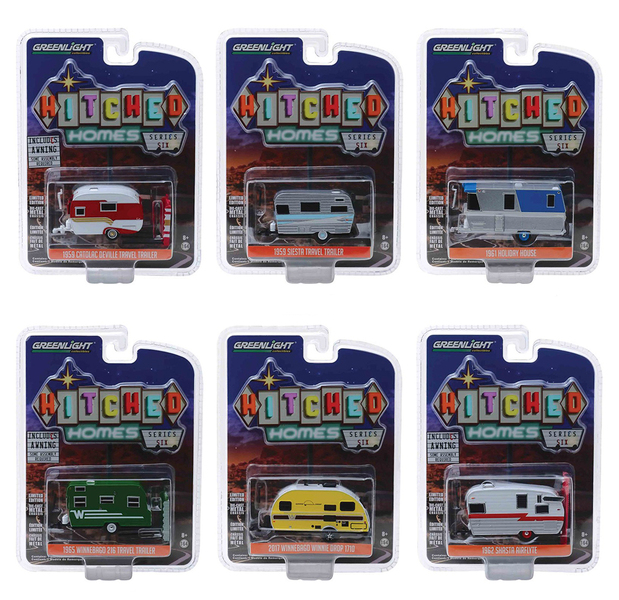 Hitched Homes Series 6 6 piece Travel Trailers Set 1/64 Diecast Models Greenlight 34060