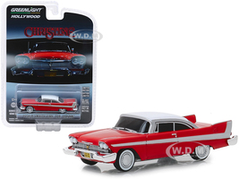1958 Plymouth Fury Red White Top Evil Version Blacked Out Windows Christine 1983 Movie Hollywood Series Release 24 1/64 Diecast Model Car Greenlight 44840 B