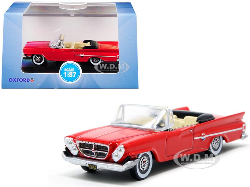 1961 Chrysler 300 Convertible Mardi Gras Red 1/87 HO Scale Diecast Model Car Oxford Diecast 87CC61001