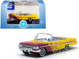 1961 Chevrolet Impala Convertible Yellow Purple Flames Hot Rod 1/87 HO Scale Diecast Model Car Oxford Diecast 87CI61004