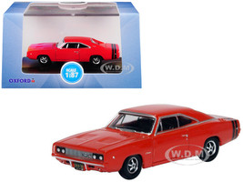 1968 Dodge Charger Bright Red Black Stripes 1/87 HO Scale Diecast Model Car Oxford Diecast 87DC68001