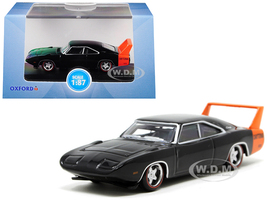 1969 Dodge Charger Daytona Black Orange Stripe 1/87 HO Scale Diecast Model Car Oxford Diecast 87DD69001