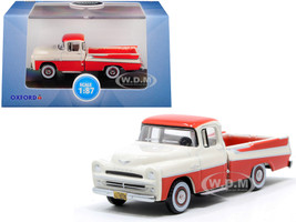 1957 Dodge D100 Sweptside Pickup Truck Tropical Coral Glacier White 1/87 HO Scale Diecast Model Car Oxford Diecast 87DP57001