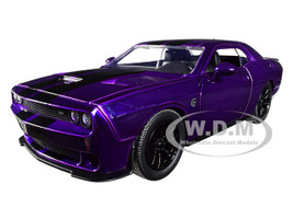 2015 Dodge Challenger SRT Hellcat Purple Black Stripes Big Time Muscle 1/24 Diecast Model Car Jada 31063
