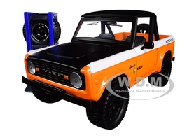 1973 Ford Bronco Metallic Orange Matt Black KC HiLiTES Extra Wheels Just Trucks Series 1/24 Diecast Model Car Jada 31058