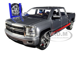2014 Chevrolet Silverado Pickup Truck bonspeed Silver Red Stripes Extra Wheels Just Trucks Series 1/24 Diecast Model Car Jada 31060