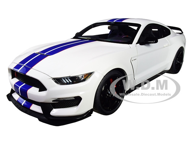 Ford Mustang Shelby GT-350R Oxford White Lightning Blue Stripes 1/18 Model Car Autoart 72931