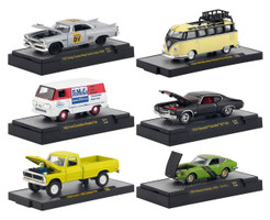 Detroit Muscle Release 49 Set of 6 Cars DISPLAY CASES 1/64 Diecast Model Cars M2 Machines 32600-49