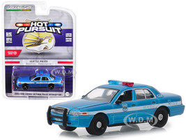 2010 Ford Crown Victoria Police Interceptor Seattle Washington Police Blue White Stripes Hot Pursuit Series 31 1/64 Diecast Model Car Greenlight 42880 D
