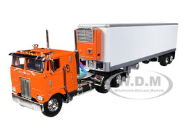 Peterbilt 352 COE Sleeper Cab 40' Vintage Thermo King Reefer Refrigerated Trailer Orange White 1/64 Diecast Model DCP First Gear 60-0568