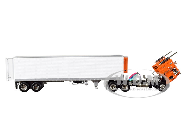 Peterbilt 352 COE Sleeper Cab with 40' Vintage Thermo King Reefer  (Refrigerated) Trailer Orange and White 1/64 Diecast Model by DCP/First Gear