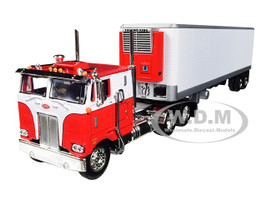 Peterbilt 352 COE Sleeper Cab 40' Vintage Thermo King Reefer Refrigerated Trailer Red White 1/64 Diecast Model DCP First Gear 60-0569