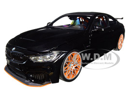 2016 BMW M4 GTS Metallic Black Carbon Top Orange Wheels Limited Edition 402 pieces Worldwide 1/18 Diecast Model Car Minichamps 110025220